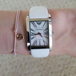 White Leather Emporio Armani Watch